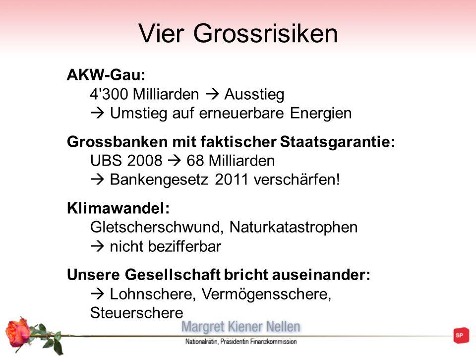 Vier Grossrisiken AKW-Gau: 4 300 Milliarden  Ausstieg  Umstieg auf erneuerbare Energien.