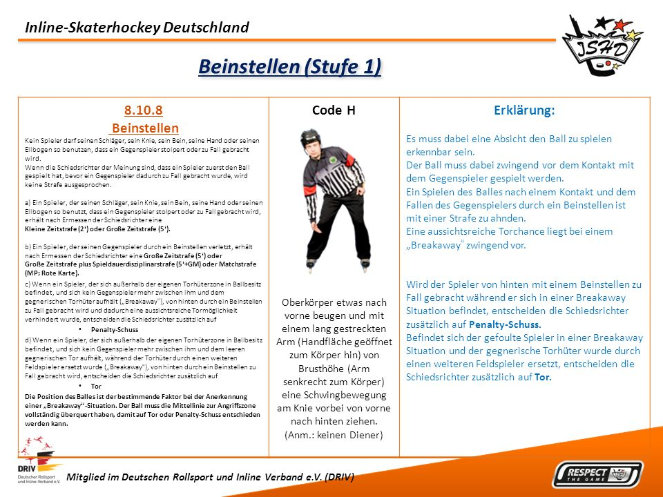 Beinstellen (Stufe 1) 8.10.8 Beinstellen Code H Erklärung: