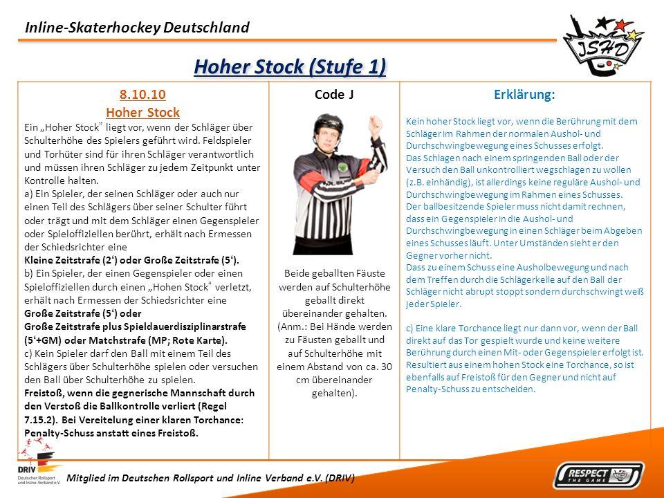 Hoher Stock (Stufe 1) 8.10.10 Hoher Stock Code J Erklärung: