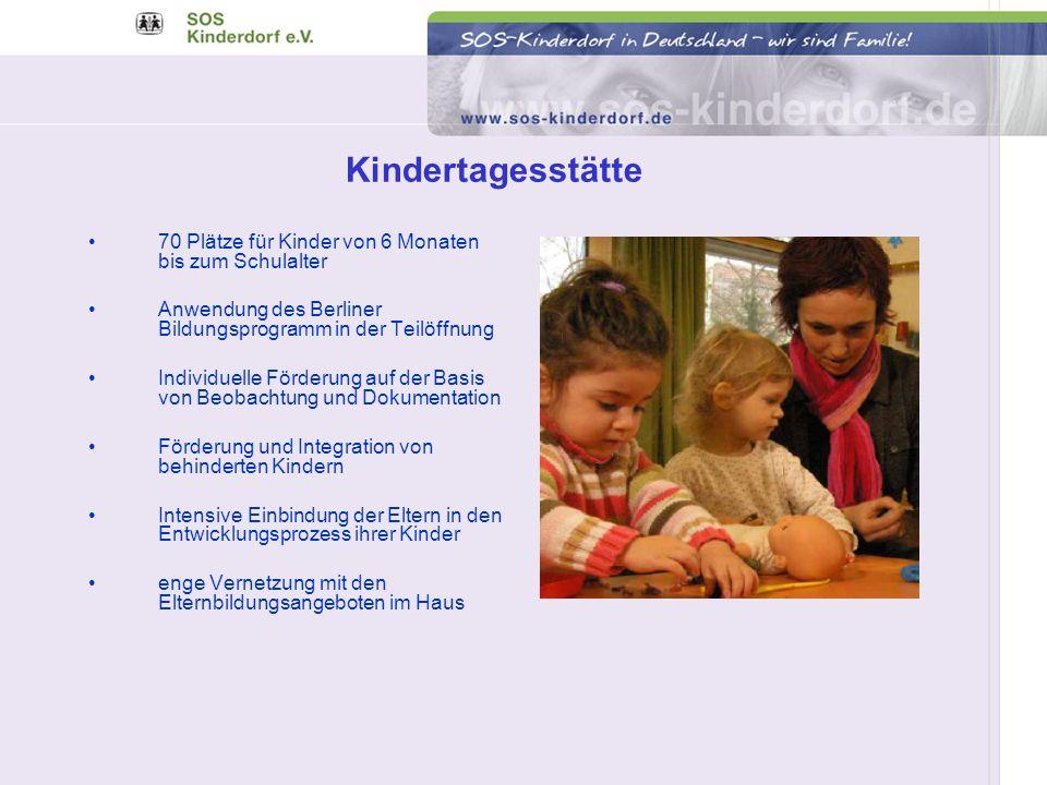 Kindertagesstätte 70 Plätze für Kinder von 6 Monaten bis zum Schulalter. Anwendung des Berliner Bildungsprogramm in der Teilöffnung.