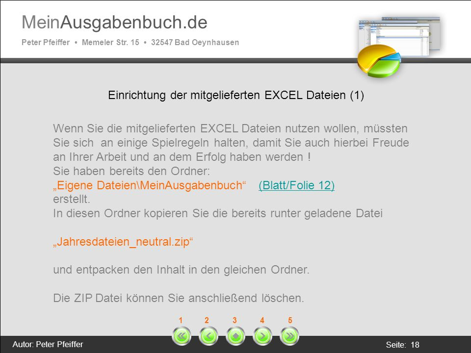Einrichtung der mitgelieferten EXCEL Dateien (1)