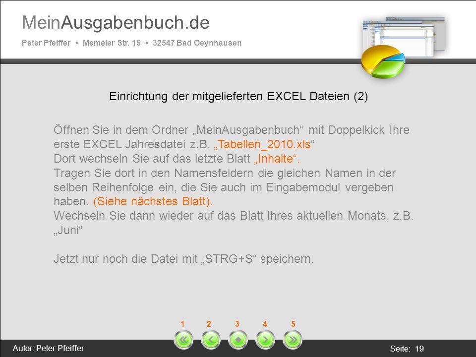 Einrichtung der mitgelieferten EXCEL Dateien (2)