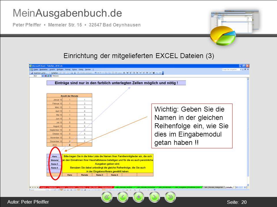 Einrichtung der mitgelieferten EXCEL Dateien (3)