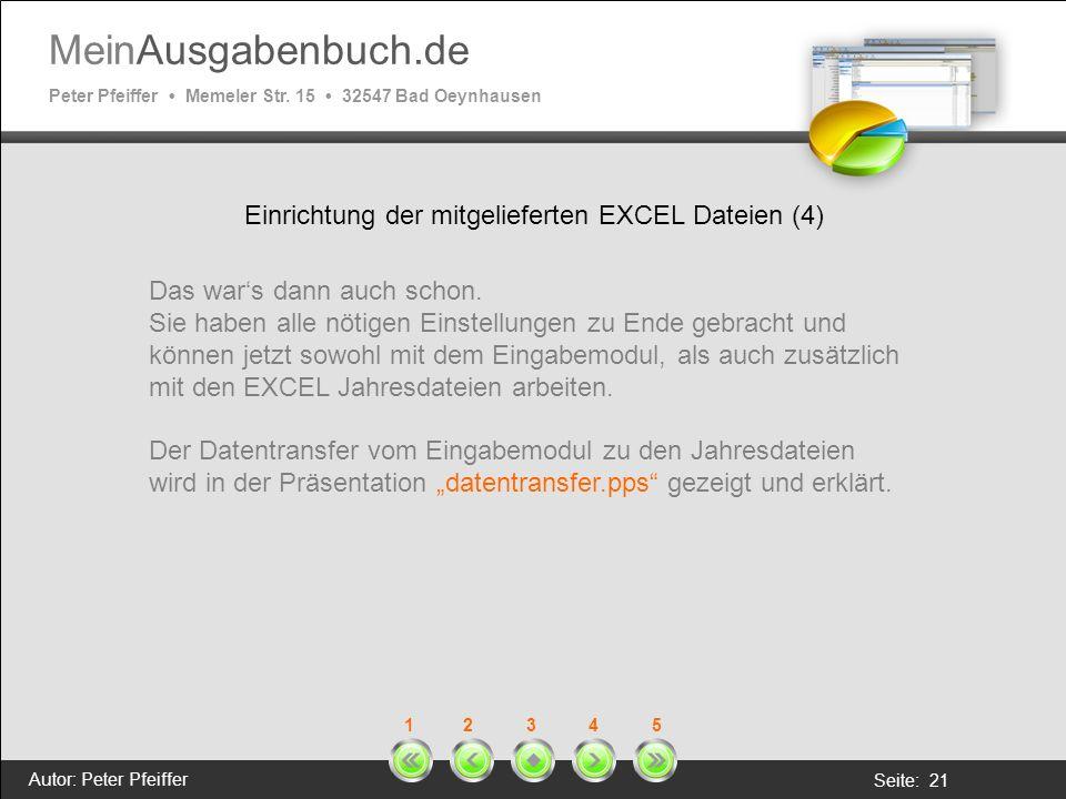 Einrichtung der mitgelieferten EXCEL Dateien (4)
