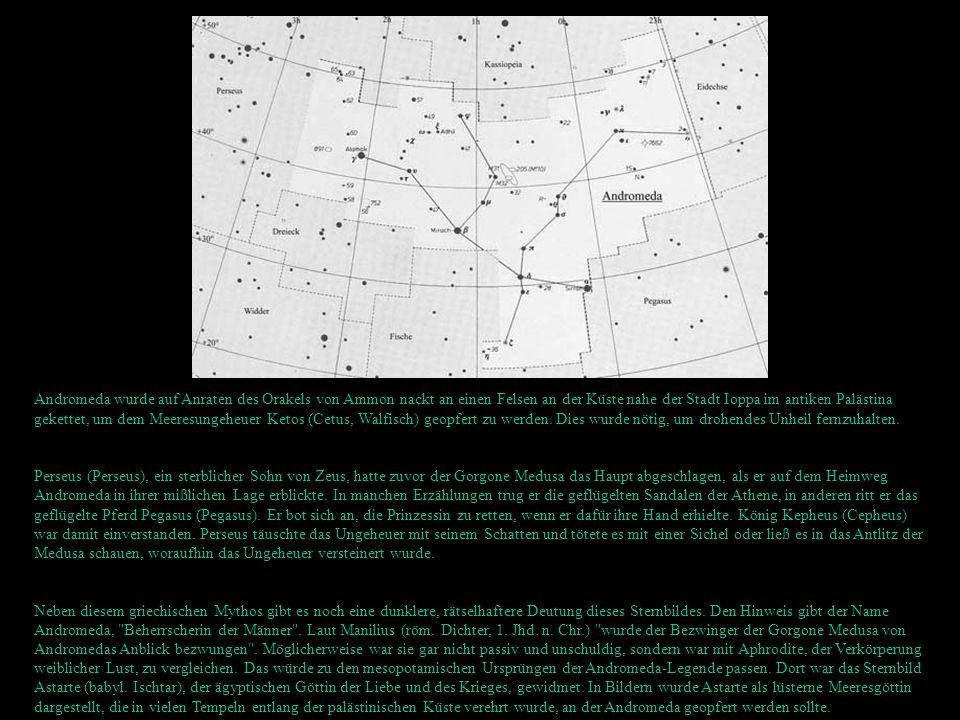 Andromeda wurde auf Anraten des Orakels von Ammon nackt an einen Felsen an der Küste nahe der Stadt Ioppa im antiken Palästina gekettet, um dem Meeresungeheuer Ketos (Cetus, Walfisch) geopfert zu werden. Dies wurde nötig, um drohendes Unheil fernzuhalten.
