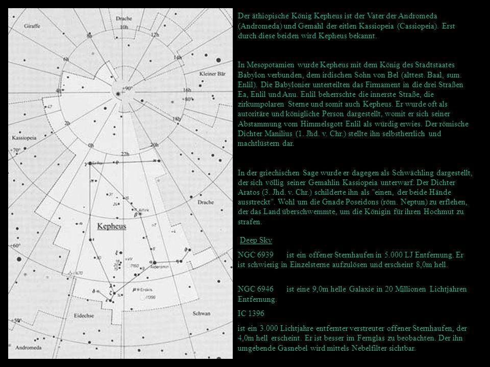 Der äthiopische König Kepheus ist der Vater der Andromeda (Andromeda) und Gemahl der eitlen Kassiopeia (Cassiopeia). Erst durch diese beiden wird Kepheus bekannt.
