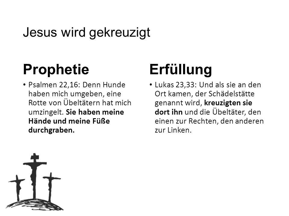 Prophetie Erfüllung Jesus wird gekreuzigt