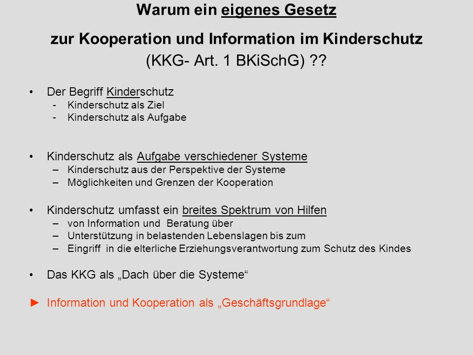 Warum ein eigenes Gesetz zur Kooperation und Information im Kinderschutz (KKG- Art. 1 BKiSchG)