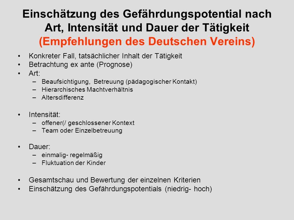 Einschätzung des Gefährdungspotential nach Art, Intensität und Dauer der Tätigkeit (Empfehlungen des Deutschen Vereins)