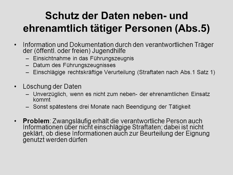 Schutz der Daten neben- und ehrenamtlich tätiger Personen (Abs.5)