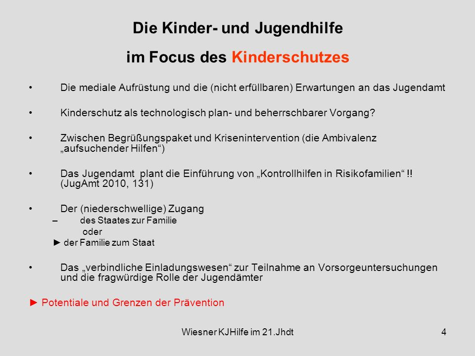 Die Kinder- und Jugendhilfe im Focus des Kinderschutzes