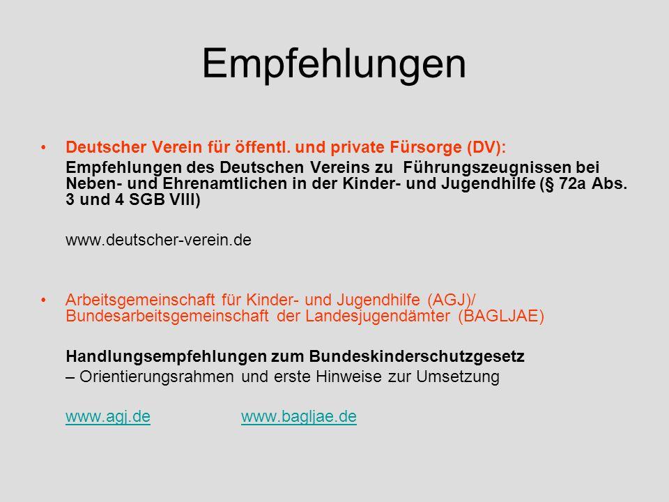 Empfehlungen Deutscher Verein für öffentl. und private Fürsorge (DV):