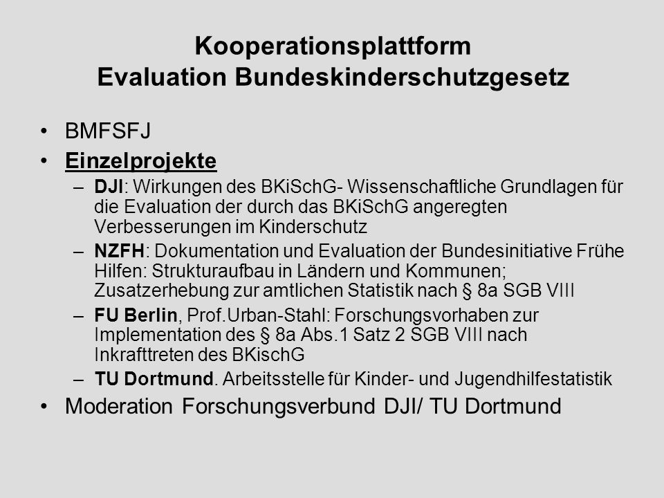 Kooperationsplattform Evaluation Bundeskinderschutzgesetz