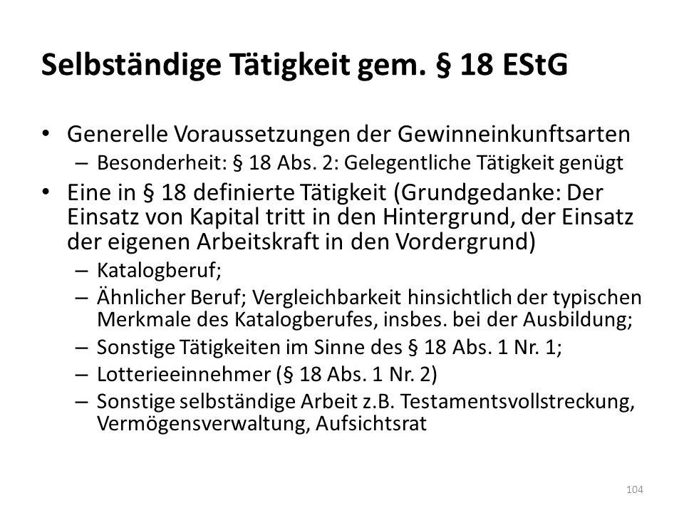 Selbständige Tätigkeit gem. § 18 EStG