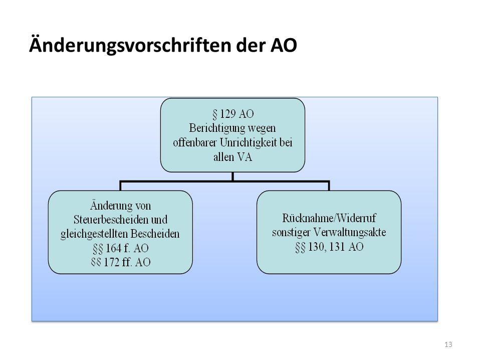 Änderungsvorschriften der AO
