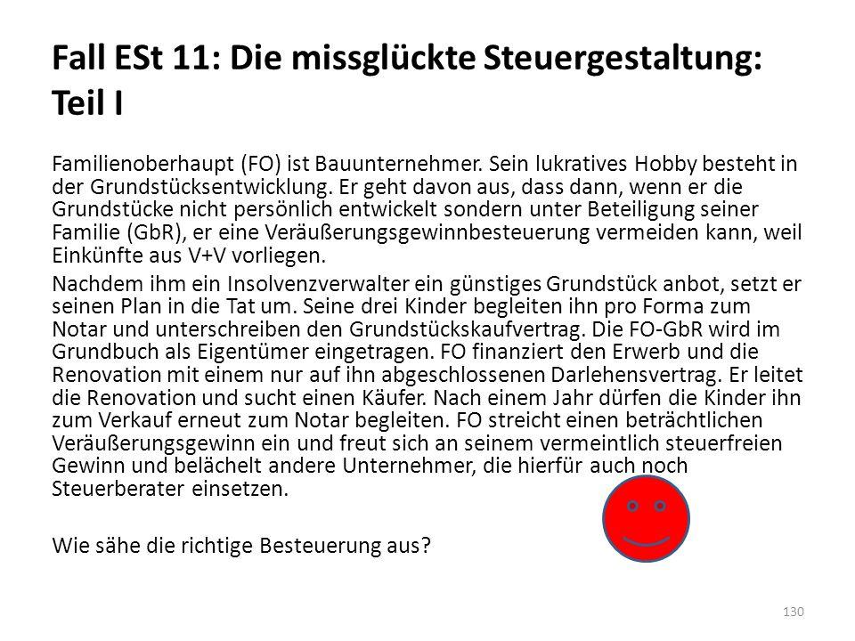 Fall ESt 11: Die missglückte Steuergestaltung: Teil I