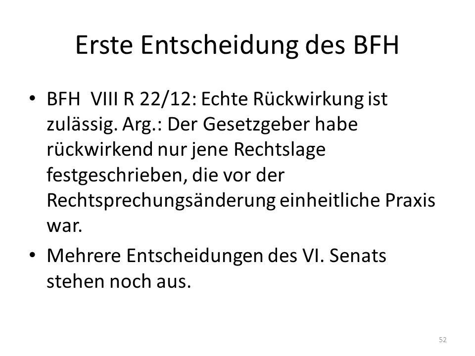 Erste Entscheidung des BFH