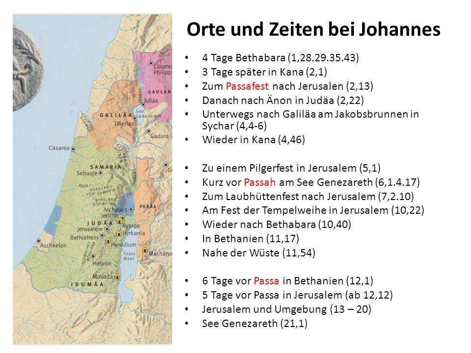 Orte und Zeiten bei Johannes