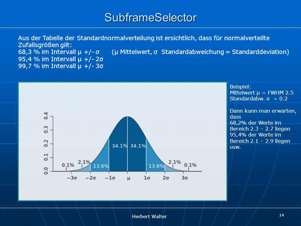 SubframeSelector Aus der Tabelle der Standardnormalverteilung ist ersichtlich, dass für normalverteilte.