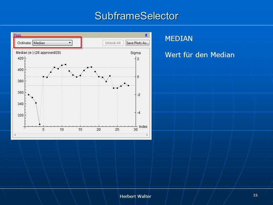 SubframeSelector MEDIAN Wert für den Median