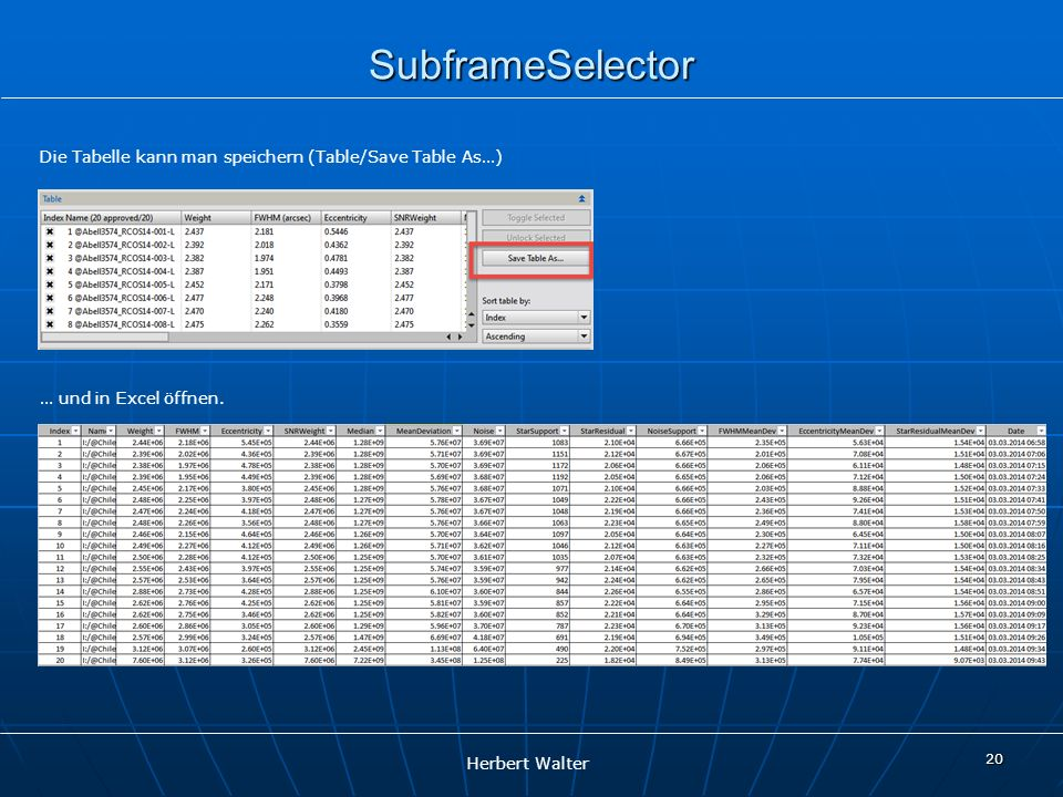 SubframeSelector Die Tabelle kann man speichern (Table/Save Table As…)