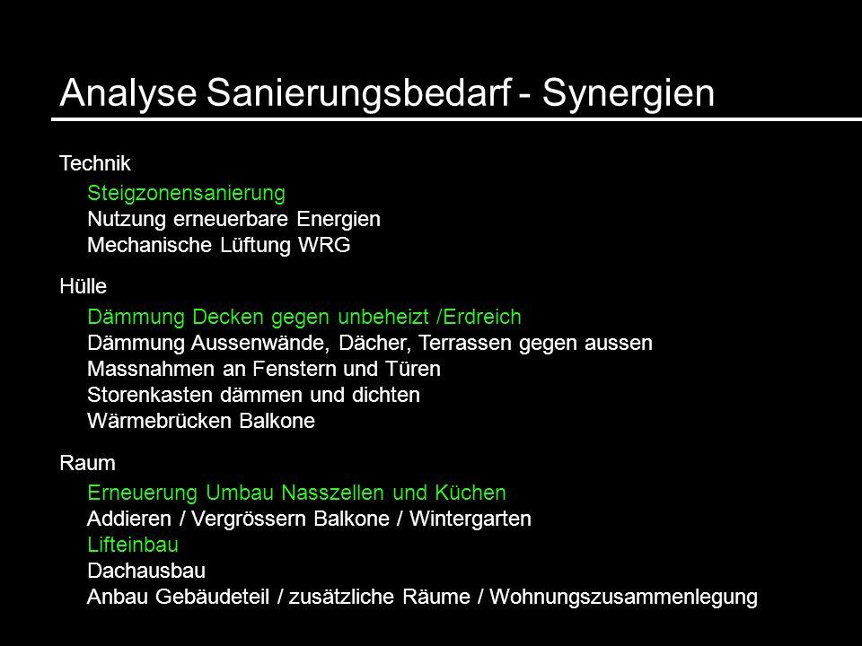 Analyse Sanierungsbedarf - Synergien