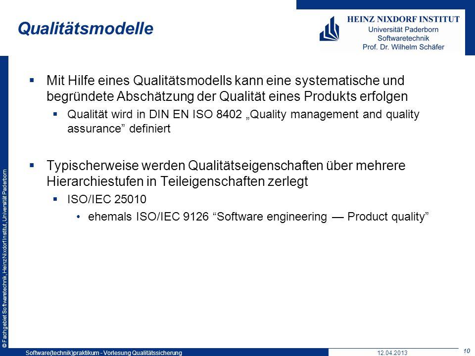 Qualitätsmodelle Softwaretechnikpraktikum: Vorlesung 5. 19. Mai 2004.