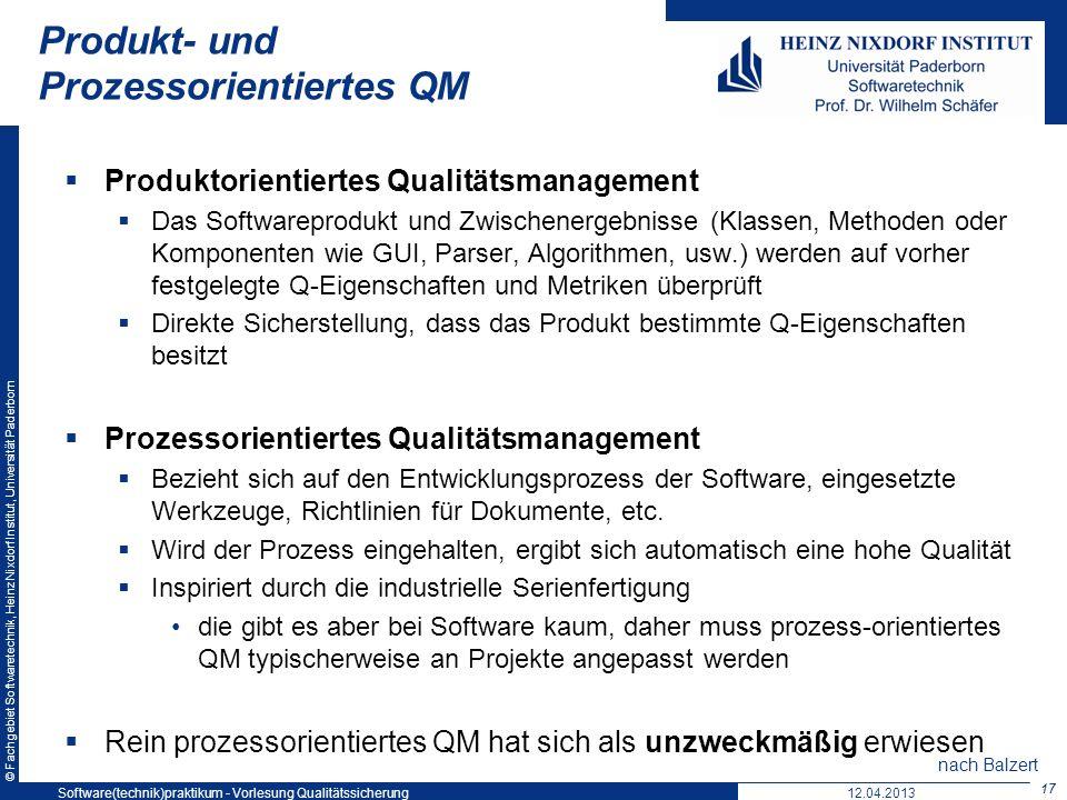 Produkt- und Prozessorientiertes QM