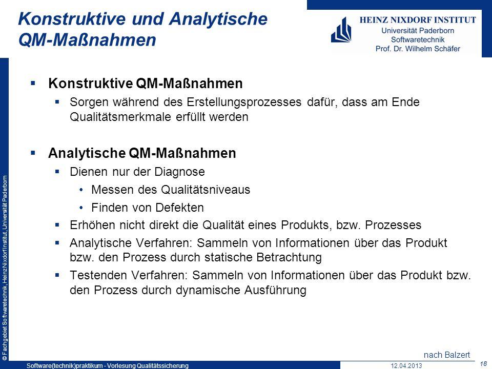 Konstruktive und Analytische QM-Maßnahmen