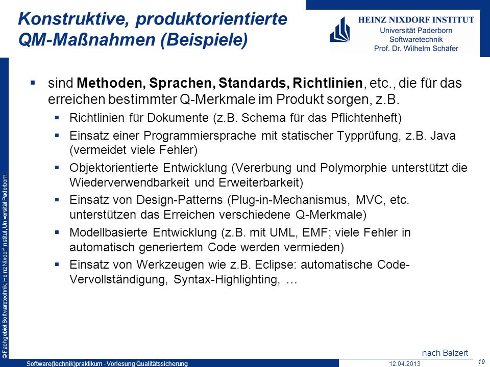 Konstruktive, produktorientierte QM-Maßnahmen (Beispiele)