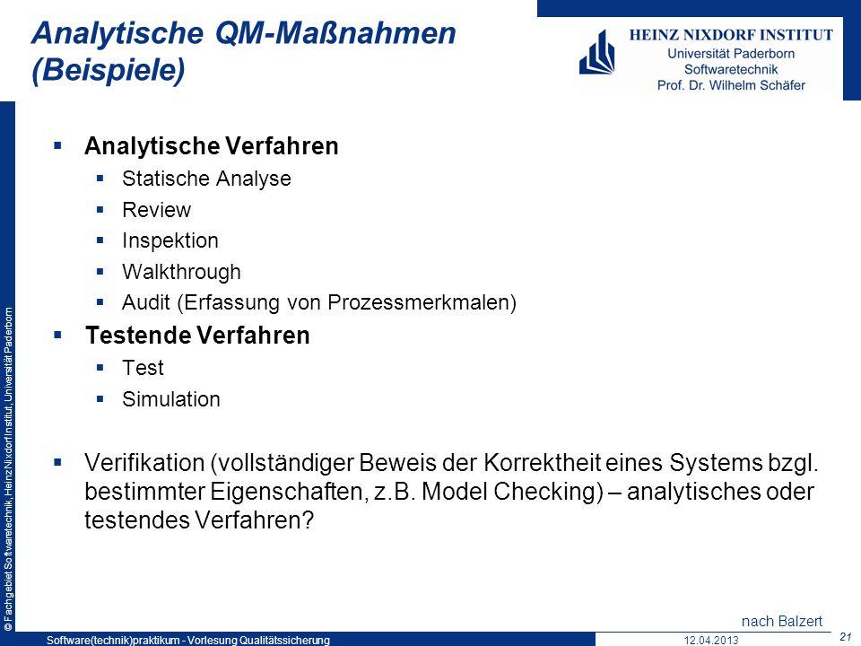 Analytische QM-Maßnahmen (Beispiele)
