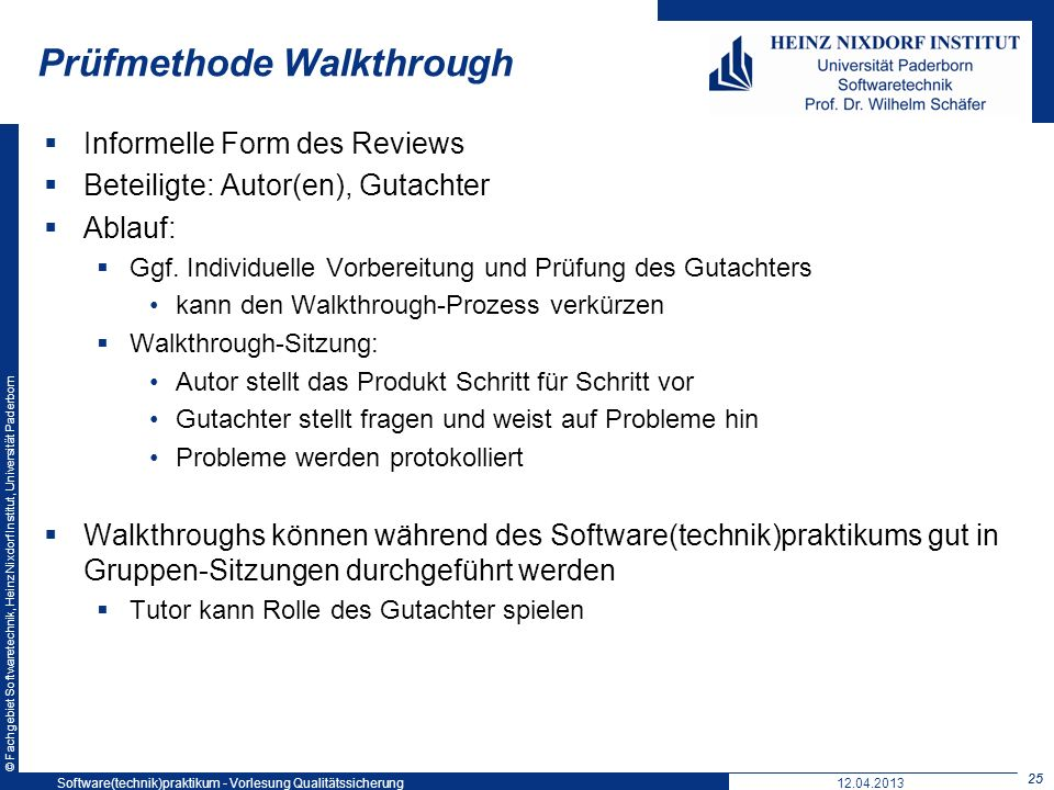 Prüfmethode Walkthrough