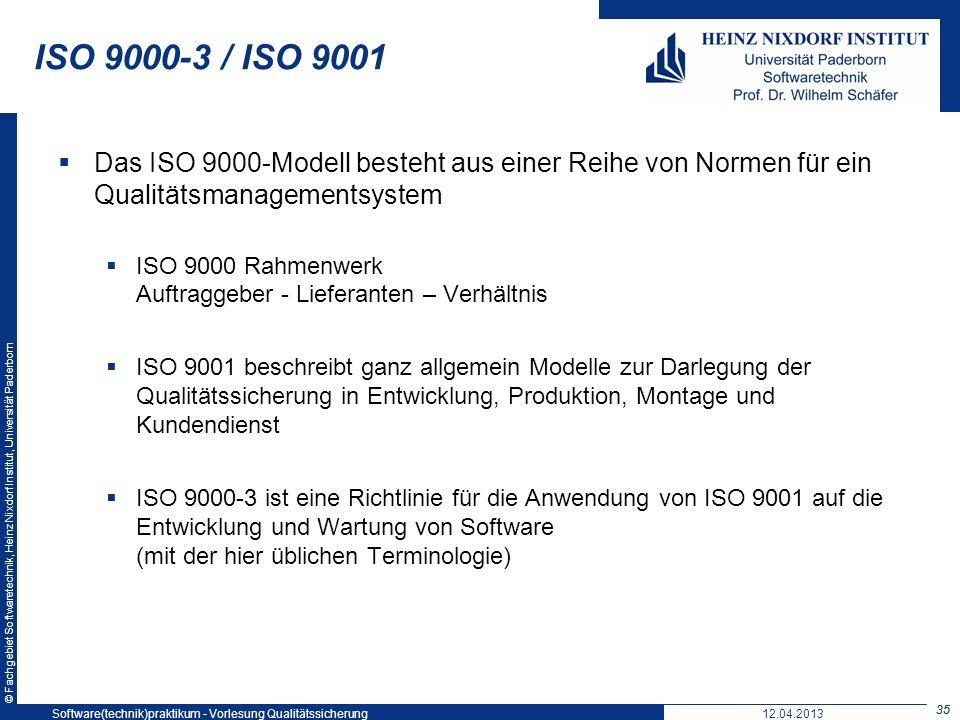 ISO 9000-3 / ISO 9001 Softwaretechnikpraktikum: Vorlesung 5. 19. Mai 2004.