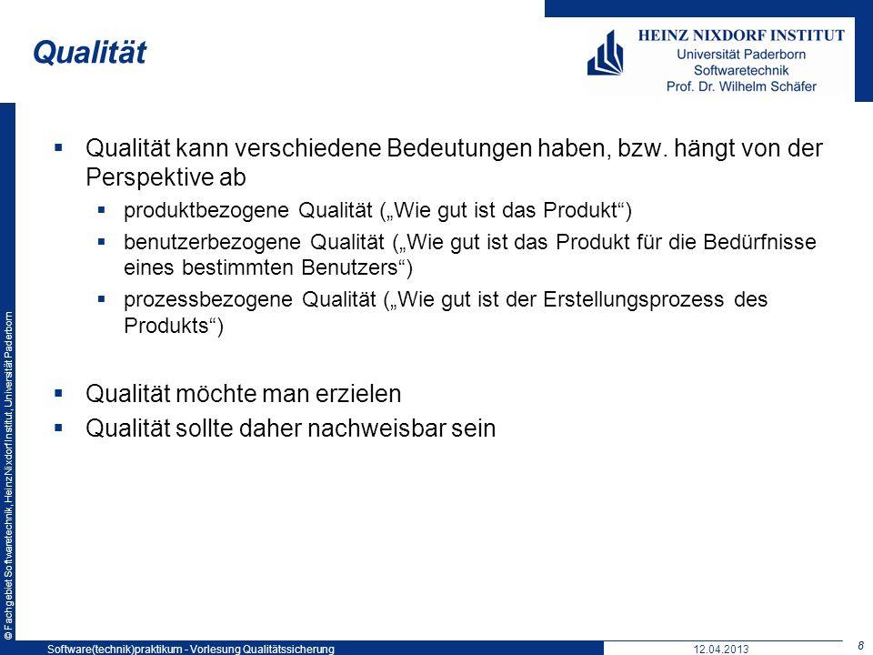 Qualität Softwaretechnikpraktikum: Vorlesung 5. 19. Mai 2004. Qualität kann verschiedene Bedeutungen haben, bzw. hängt von der Perspektive ab.