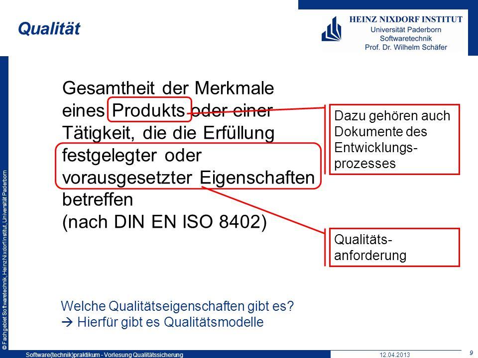 Qualität Softwaretechnikpraktikum: Vorlesung 5. 19. Mai 2004.
