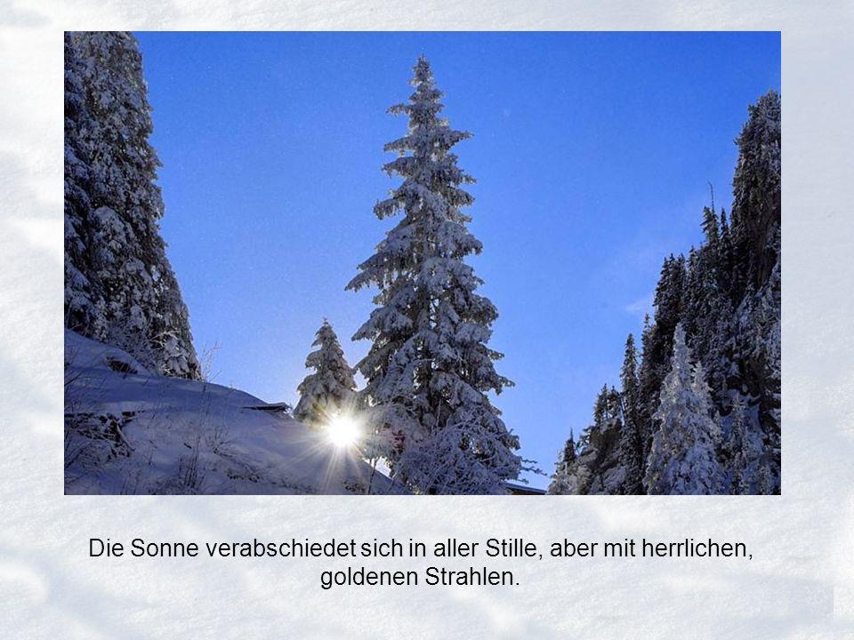 Die Sonne verabschiedet sich in aller Stille, aber mit herrlichen, goldenen Strahlen.
