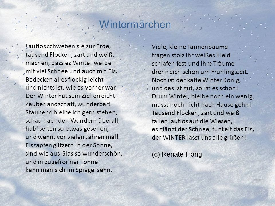 Wintermärchen Lautlos schweben sie zur Erde, Viele, kleine Tannenbäume