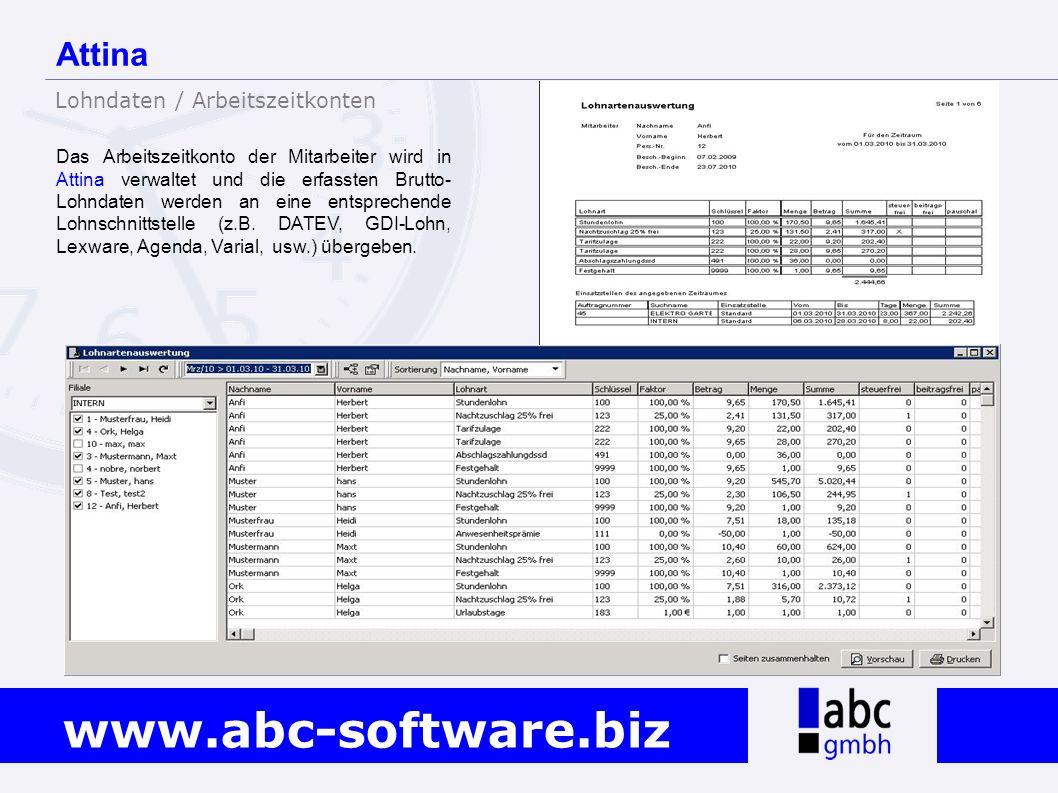 Attina Lohndaten / Arbeitszeitkonten