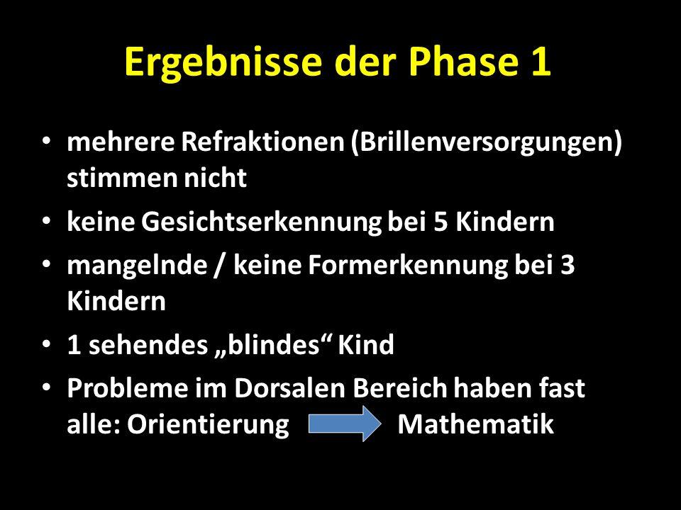 Ergebnisse der Phase 1 mehrere Refraktionen (Brillenversorgungen) stimmen nicht. keine Gesichtserkennung bei 5 Kindern.