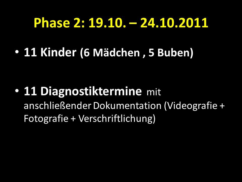 Phase 2: 19.10. – 24.10.2011 11 Kinder (6 Mädchen , 5 Buben)