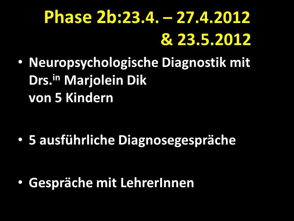 Phase 2b:23.4. – 27.4.2012 & 23.5.2012 Neuropsychologische Diagnostik mit Drs.in Marjolein Dik von 5 Kindern.