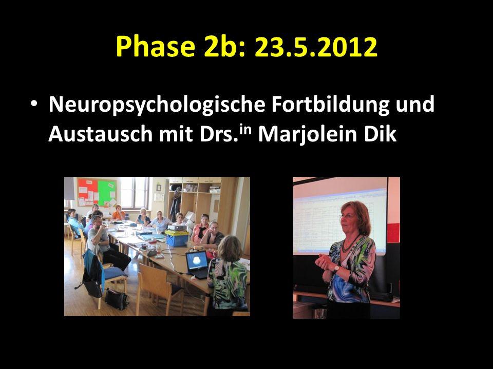 Phase 2b: 23.5.2012 Neuropsychologische Fortbildung und Austausch mit Drs.in Marjolein Dik