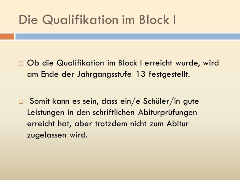 Die Qualifikation im Block I