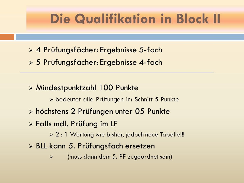 Die Qualifikation in Block II