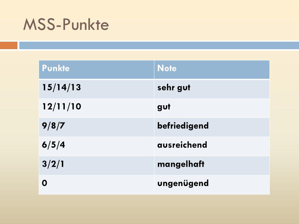 MSS-Punkte Punkte Note 15/14/13 sehr gut 12/11/10 gut 9/8/7