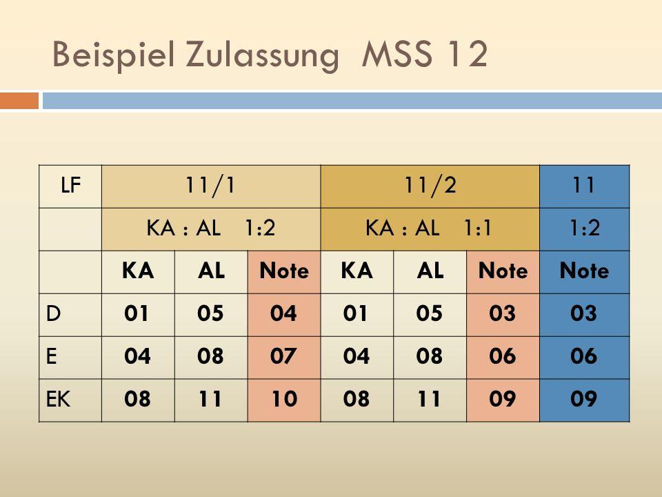 Beispiel Zulassung MSS 12