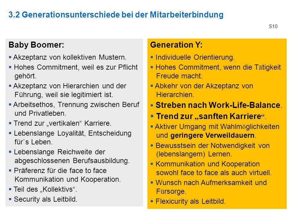 3.2 Generationsunterschiede bei der Mitarbeiterbindung