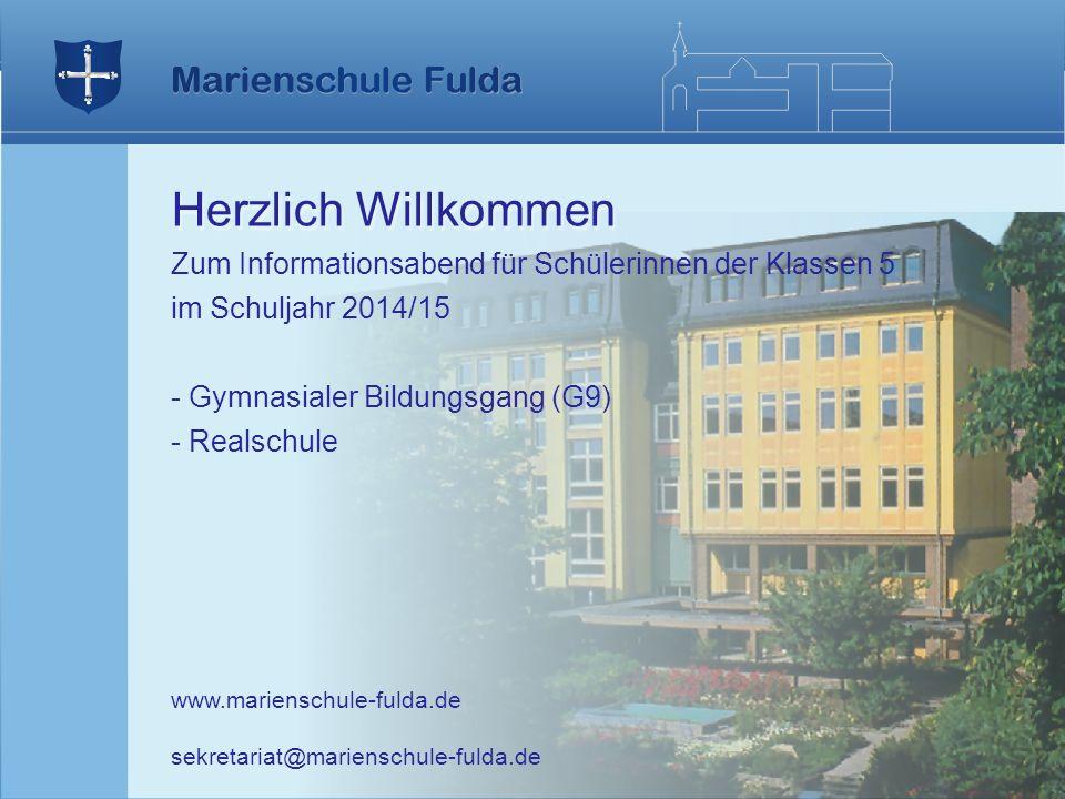 Herzlich Willkommen Zum Informationsabend für Schülerinnen der Klassen 5. im Schuljahr 2014/15. Gymnasialer Bildungsgang (G9)