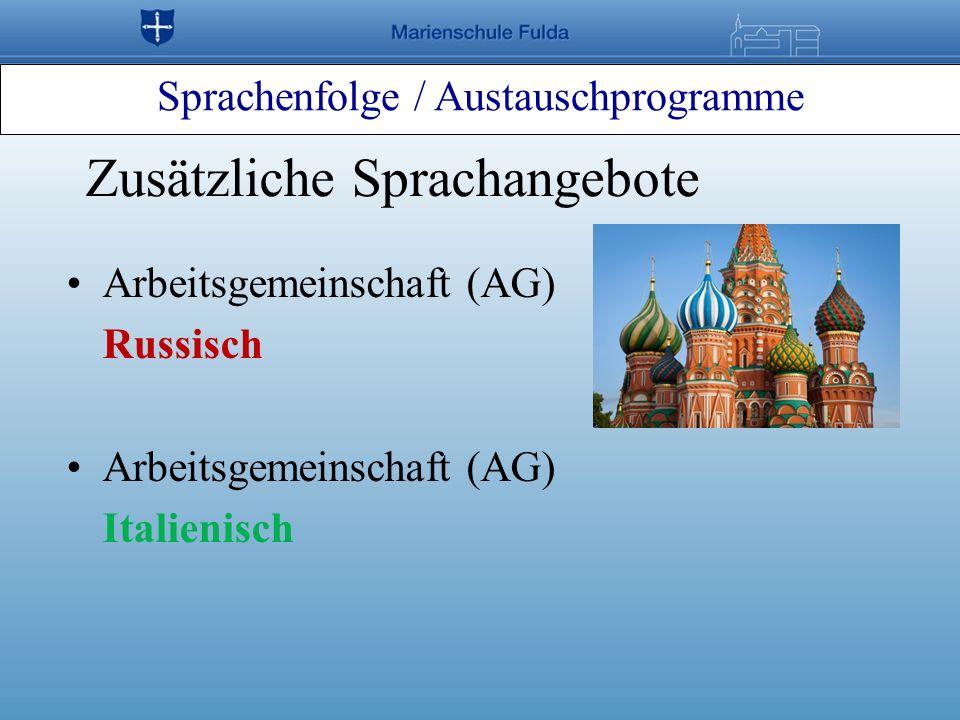 Sprachenfolge / Austauschprogramme