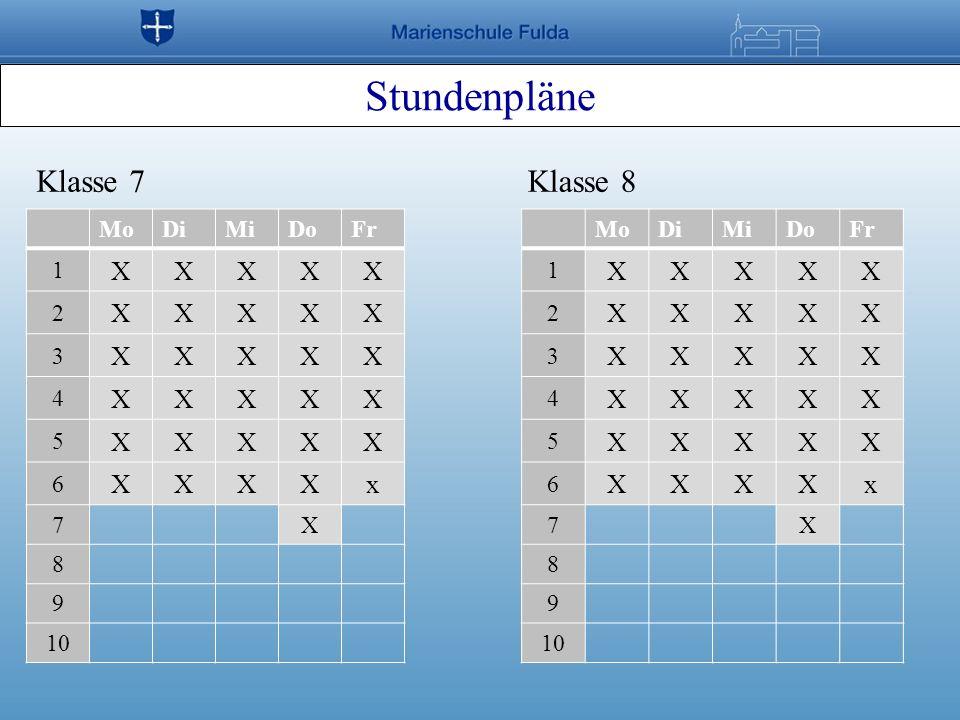 Stundenpläne Klasse 7 Klasse 8 X x X x Mo Di Mi Do Fr 1 2 3 4 5 6 7 8